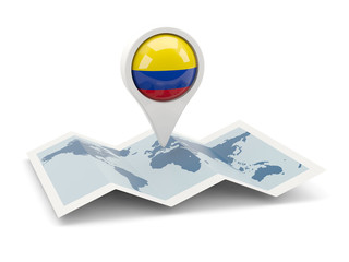 Round pin with flag of colombia