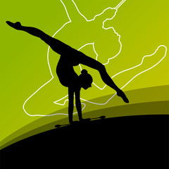 Active young women calisthenics sport gymnasts silhouettes with