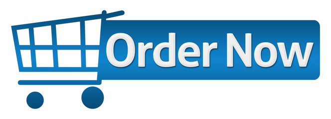 Order Now Blue Shopping Cart Horizontal