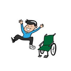 Man broken leg plaster cast wheelchair
