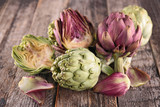 artichoke on wood background