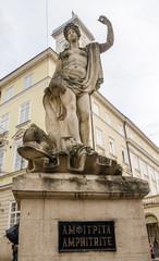 Amphitrite statue on a monument at Market Square in Lviv
