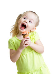 happy kid girl eating ice cream isolated