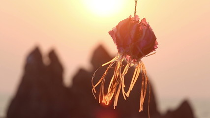 wind shakes indian lantern at background of mountains at sunset