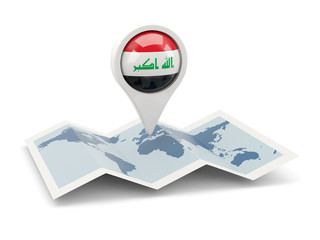 Round pin with flag of iraq