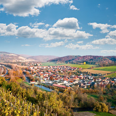 View over Saale river valley near Jena, Germany