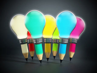 Creative pencils and light bulbs
