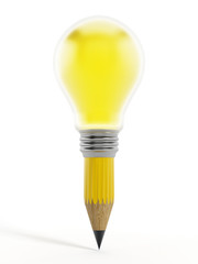Creative pencil and light bulb