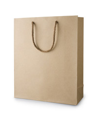 Brown recycle shopping bag with handles isolated on white