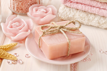 Bar of handmade rose soap