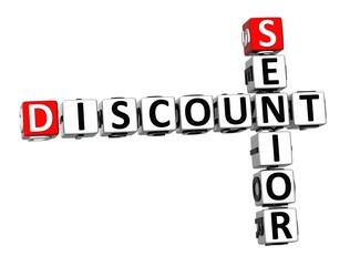 3D Crossword Senior Discount on white background