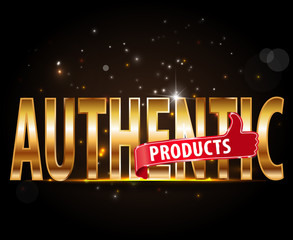 authentic products golden typography graphic design