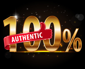 100 percent authentic golden typography graphic design