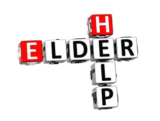 3D Crossword Help Elder on white background