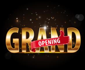 grand opening golden typography graphic design - vector eps10