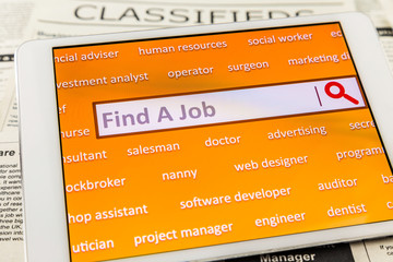 Use tablet search a job or  new career