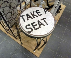 stool with text