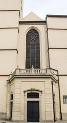 Entrance door and window in Metropolitan Basilica Virgin Mary