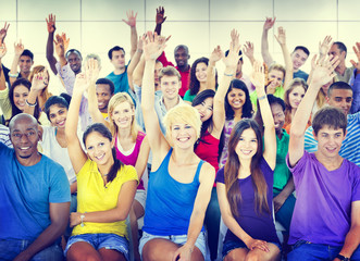 Group People Crowd Cooperation Suggestion Multicolored Concept