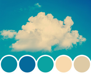 Color Palette Of Summer Blue Sky With Soft White Cloud