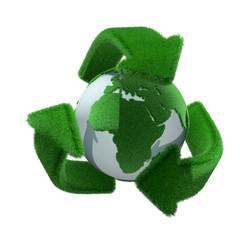 リサイクルマークと地球