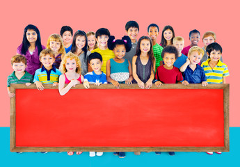 Diversity Friendship Group Kids Education Blackboard Concept