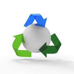 リサイクルマークと球体
