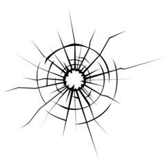 Broken glass cracks