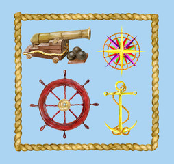 Matine set with nautical objects and rope frame
