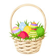 Easter colorful eggs in basket. Vector illustration. - 80060833