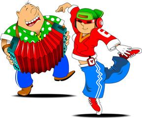 rap dancer and accordion