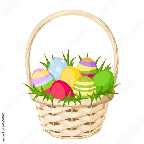 Easter colorful eggs in basket. Vector illustration. - 80060833