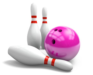 Pink bowling ball and three pins on a white background