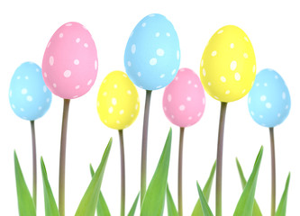 Cute Easter egg tulip flowers in pink, blue, and yellow