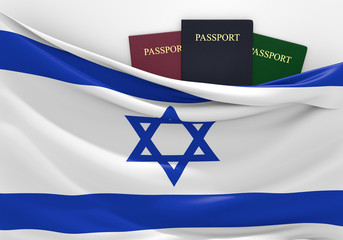 Travel and tourism in Israel, with assorted passports