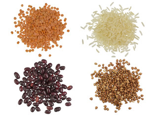 Collection Set of Cereal Grains and Seeds Heaps