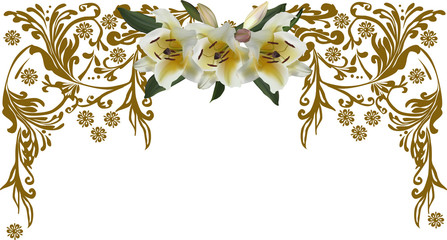 brown half frame decoration with lily flowers on white