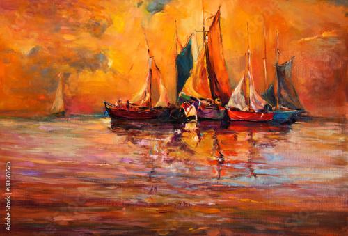 Leinwandbild Motiv Boats and ocean