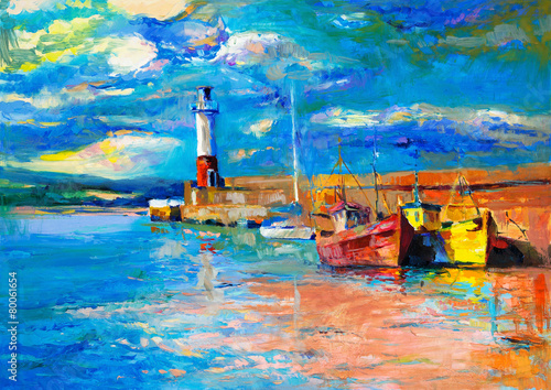 Lighthouse and boats © Boyan Dimitrov