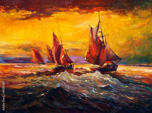 Ocean and ship - 80061681