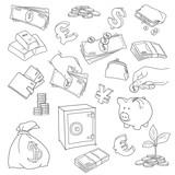 Set of doodle money symbol vector illustration