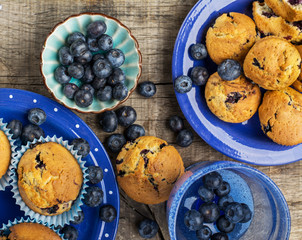 Delicious homemade blueberry muffins with fresh blueberries