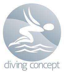 Diver swimming circle design
