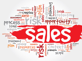 Word Cloud with Sales related tags, business concept
