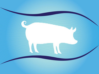 White silhouette of pig on blue background with waves