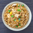 Healthy food fried rice chicken with egg and green onion - 80064236