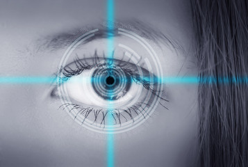 Eye viewing digital information. Conceptual image.