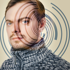 Hi-tech portrait of young man. Conceptual image.