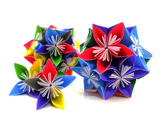 origami colorful flowers isolated on white background