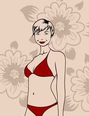 girl in red bikini on a floral background
